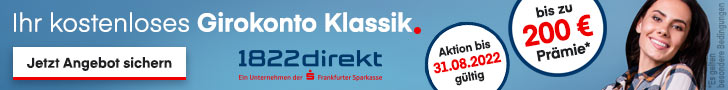 1822direkt: Kostenloses Girokonto mit 25€ Startguthaben